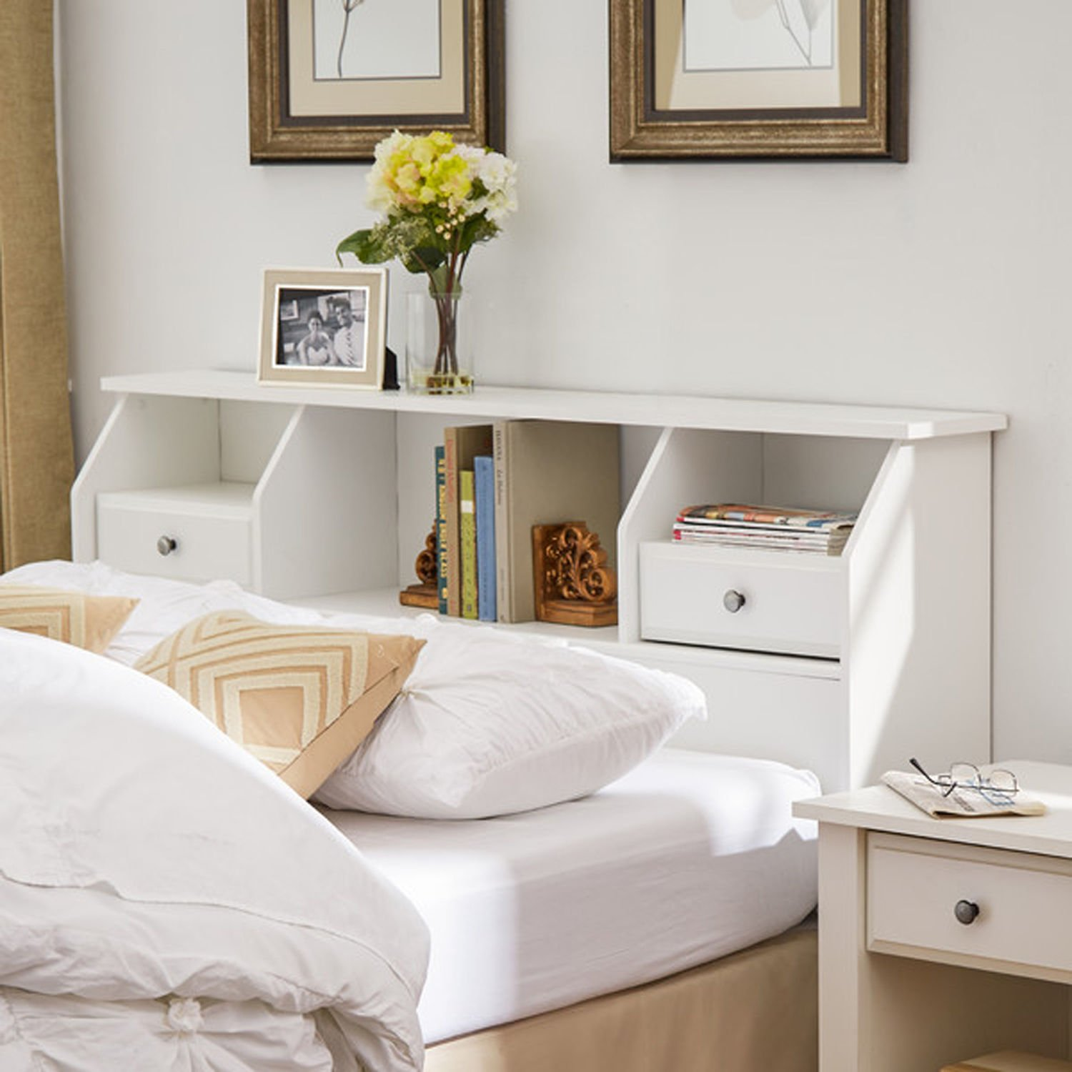 Revere Headboard With Storage Queen/full Size Bookcase Drawers Wood White  Shelves Modern Bedroom Headboard (full/queen, Soft White)