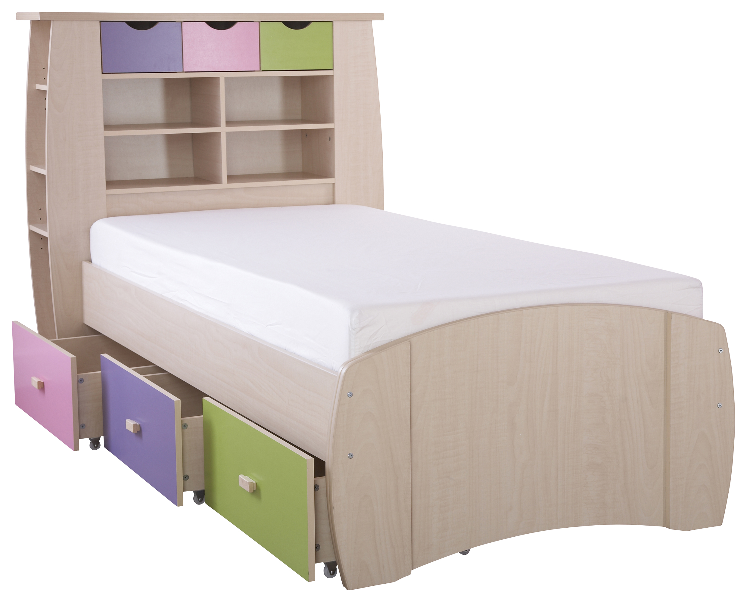 Details About 3ft Single Bed With Storage Drawers Shelves Bookcase Girls  Bed Maple Pink Lilac