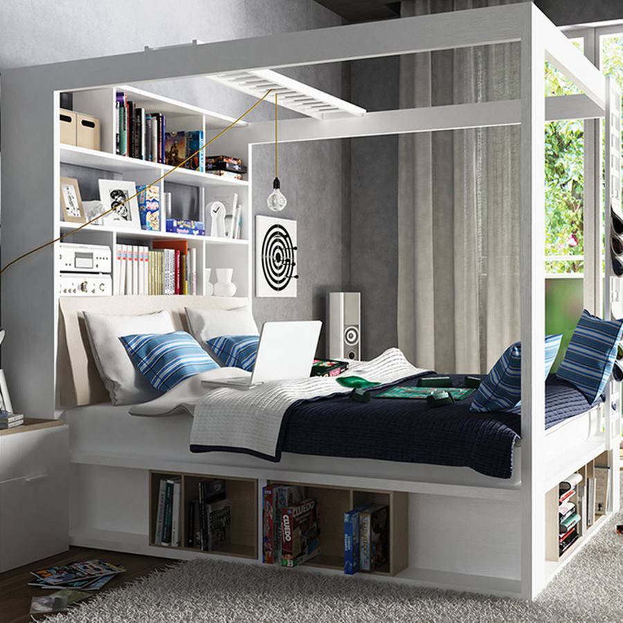 Four Poster King Bed With Storage And Shelves In White