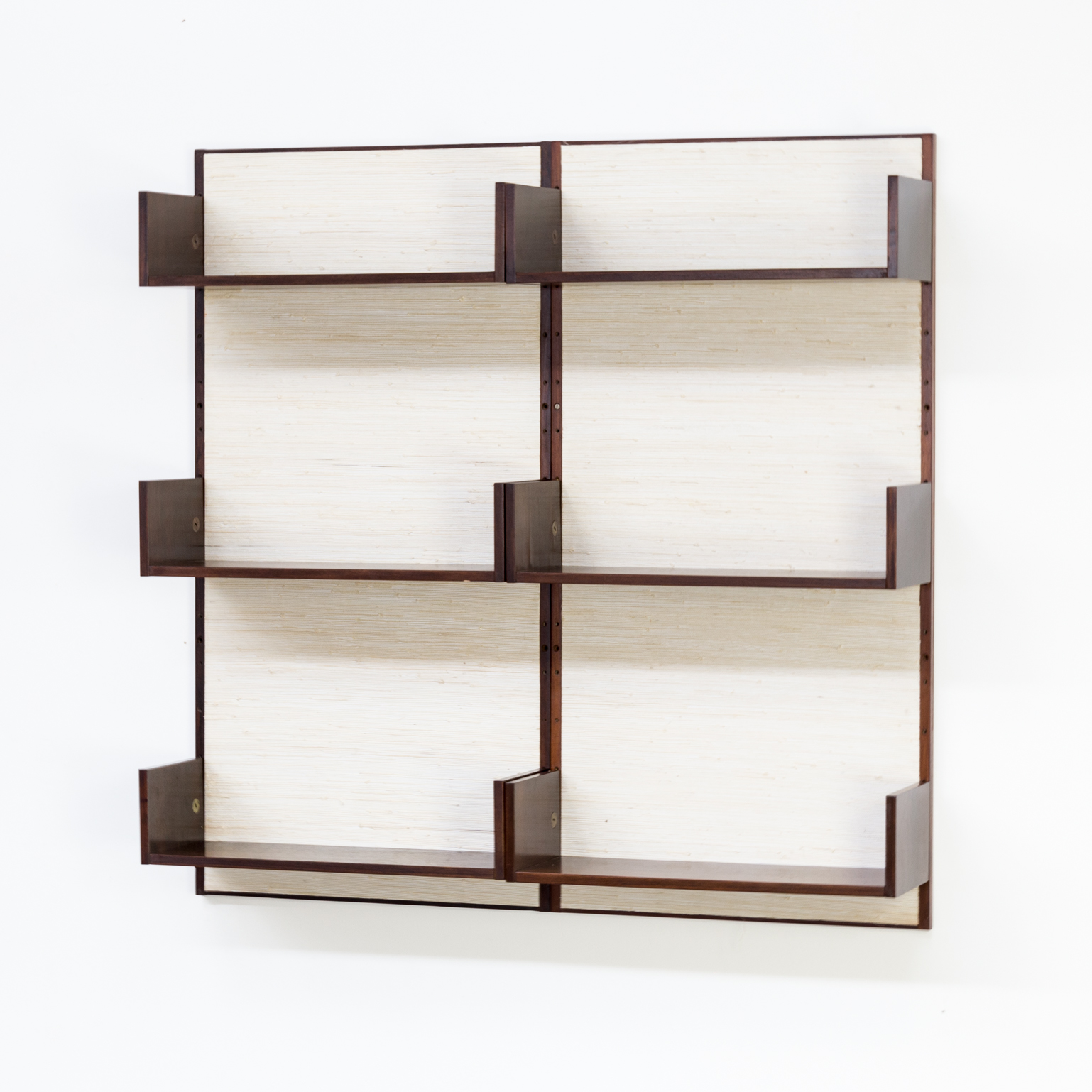 60s Marten Franckema Rosewood And Seagrass Canvas Wall Unit 6 Shelves For  Fristho
