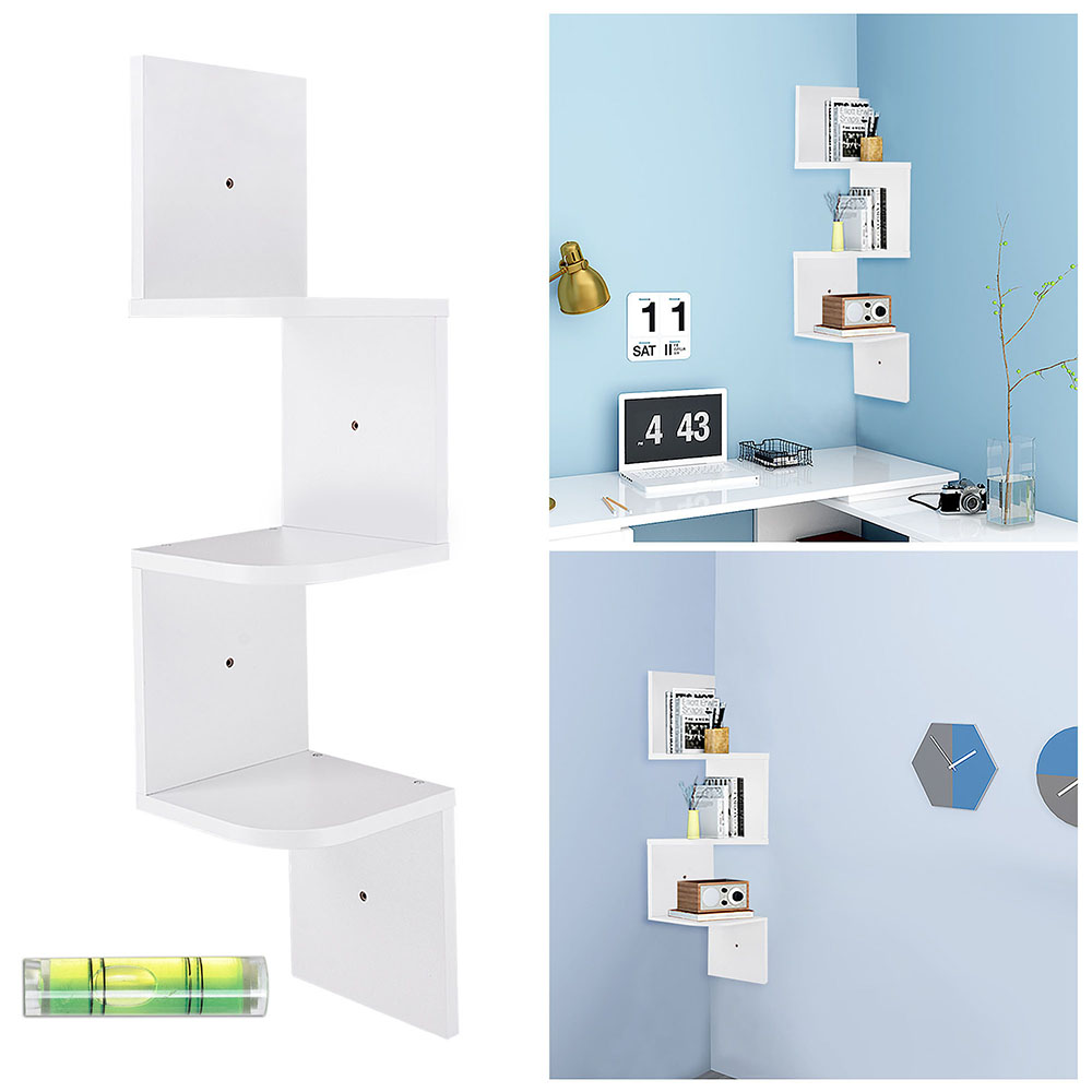 Details About White Wall Mount Corner Shelf 3 Tiers Zig Zag Wood Shelves  Rack Home Furniture