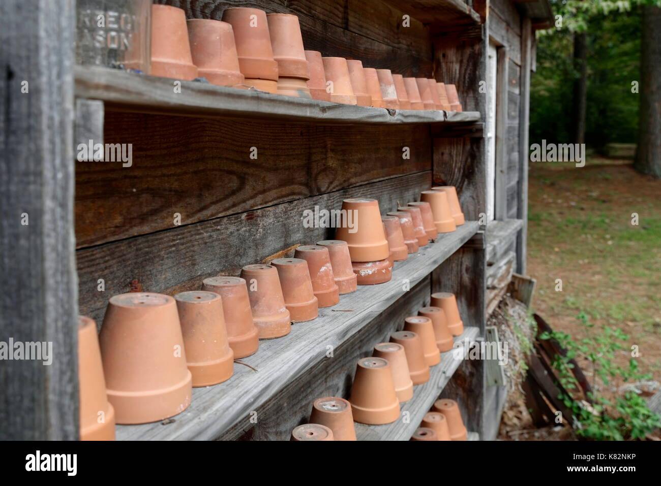 Clay Garden Pots On Shelves At The Furnacetown Living