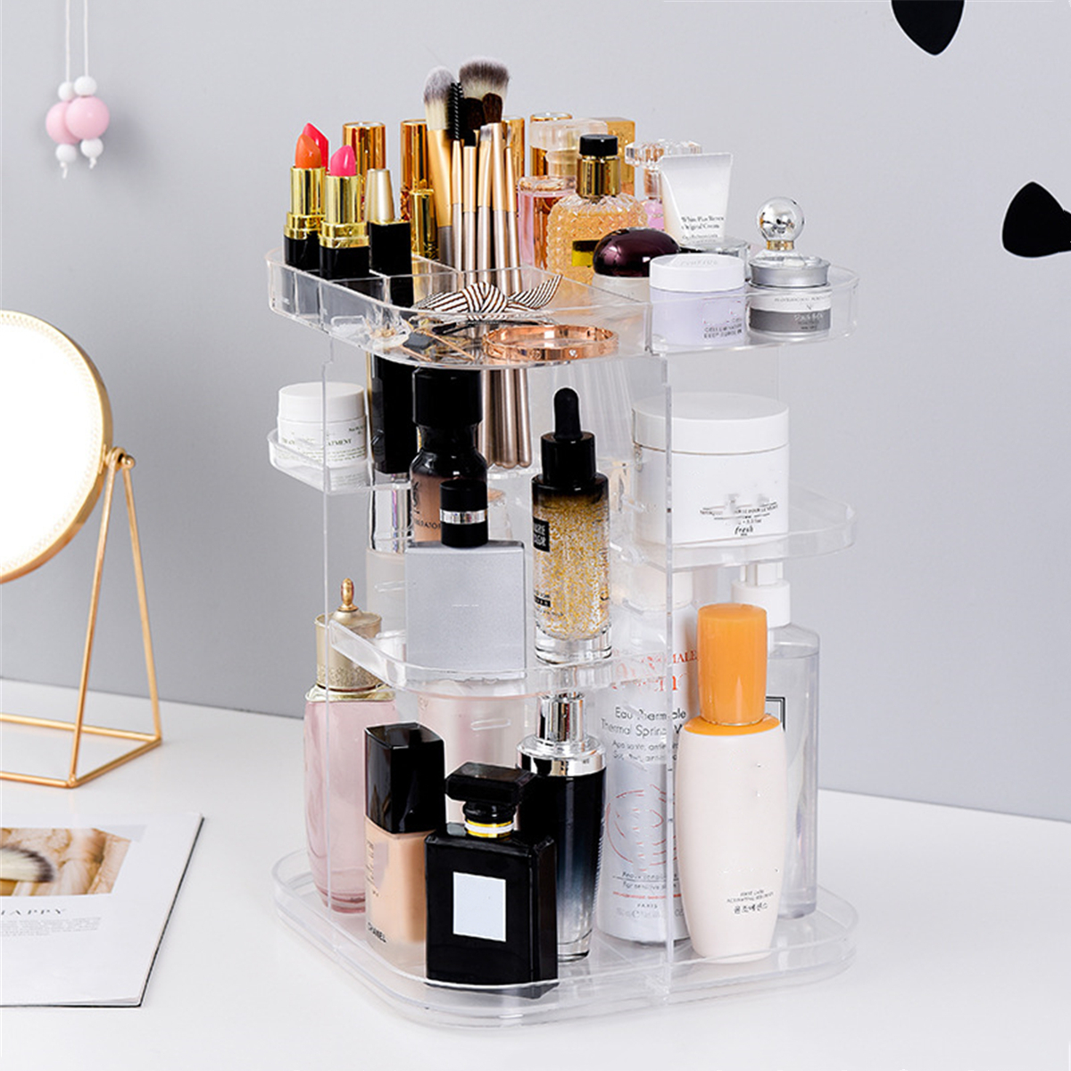 Details About 360 Degree Rotating Cosmetic Makeup Organizer Adjustable  Storage Box Shelves