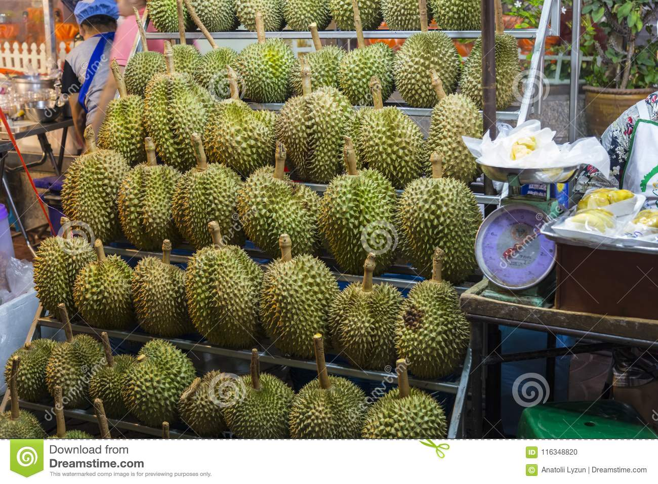Thai Fruits - Durians On The Shelves Chinatown In Bangkok