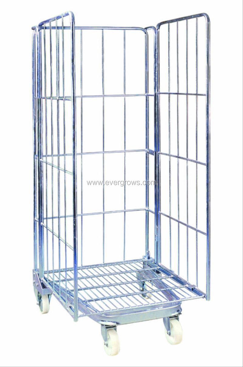 3-side Warehouse Welded Wire Mesh Roll Cage With Optional Shelves, View  Welded Wire Mesh Cage, Evergrows Product Details From Dongguan Evergrows