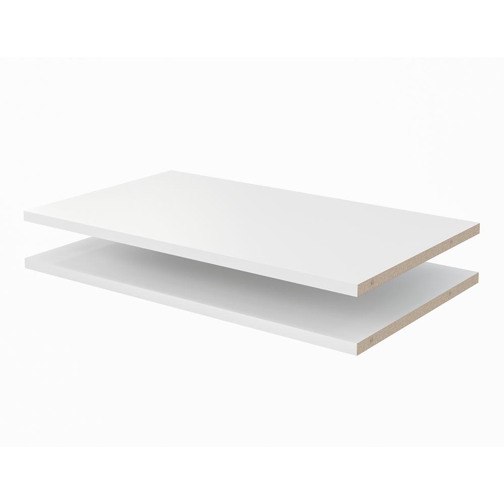 Closet Evolution 24 In X 14 In Classic White Wood Shelves (2-pack)