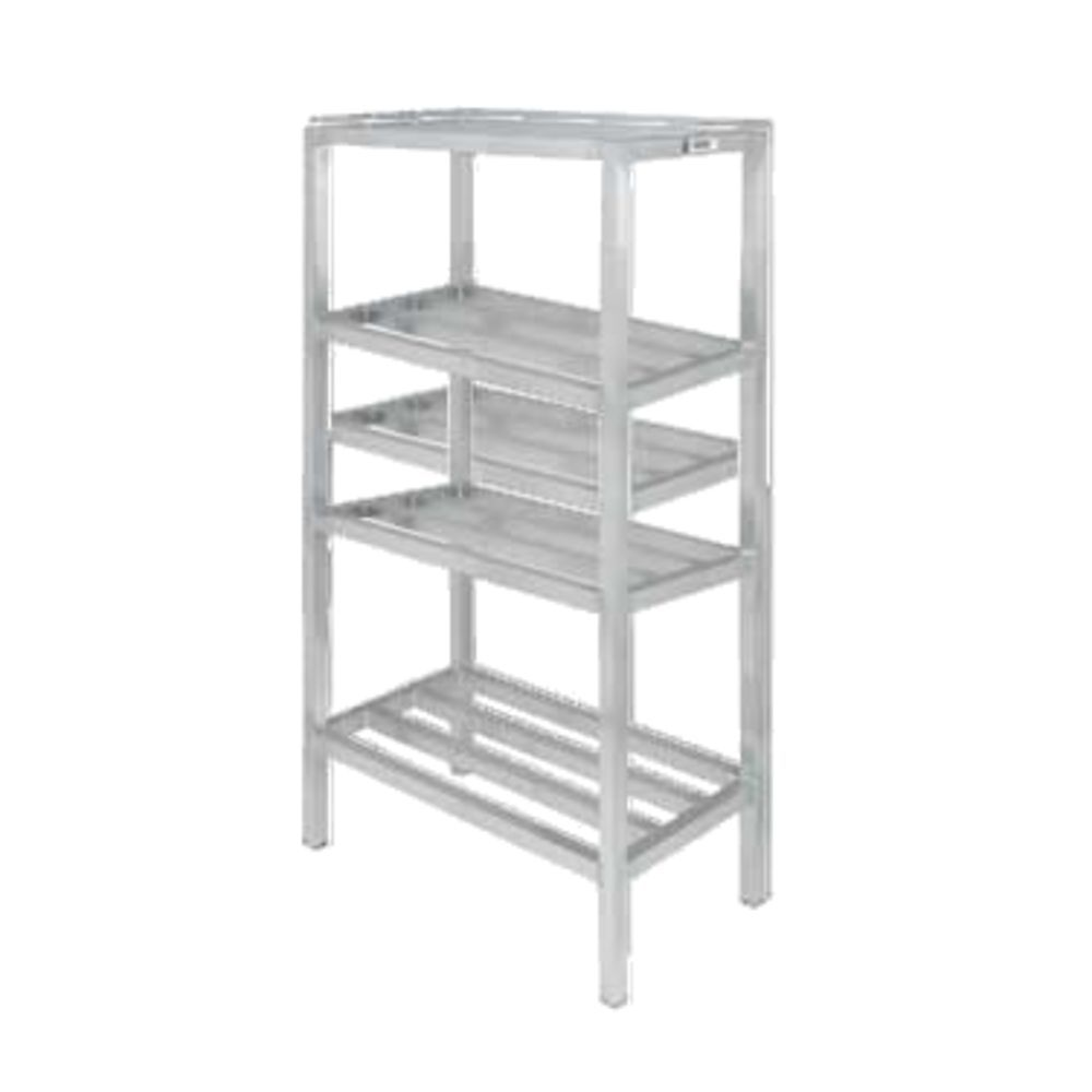 """Channel Manufacturing Inc Dunnage Shelving Unit, Tubular, 48""""w X 24""""d X  64""""h, (4) Shelves, 16-1/2"""" Between Shelves, 2200 Lbs Capacity, Aluminum"""