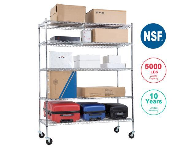 Nsf Wire Shelving Unit Large Metal Shelves Organizer Wire Storage Shelves  Heavy Duty 5-tier Commercial Grade Height Adjustable Utility Rack 5000 Lbs