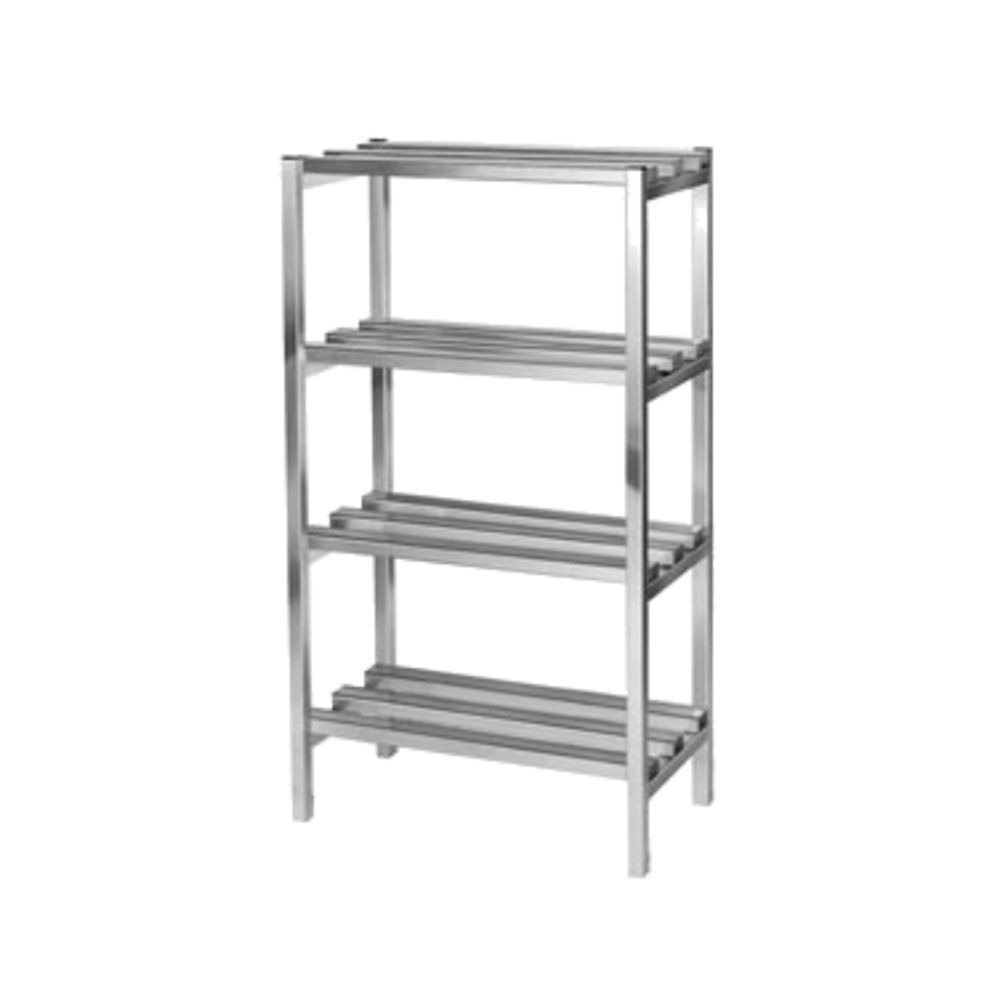 """Channel Manufacturing Inc Dunnage Shelving Unit, 48""""w X 24""""d X 64""""h, (4)  Shelves, 16-1/2"""" Between Shelves, 2500 Lbs Capacity, Aluminum  Construction,"""