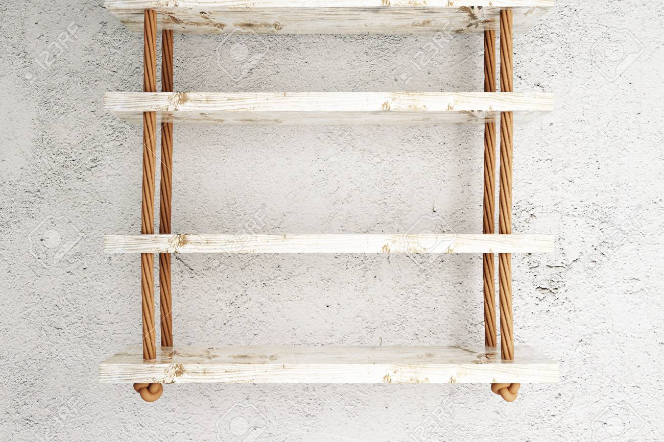 Suspended Wooden Shelves On White Concrete Wall Mock Up, 3d Stock