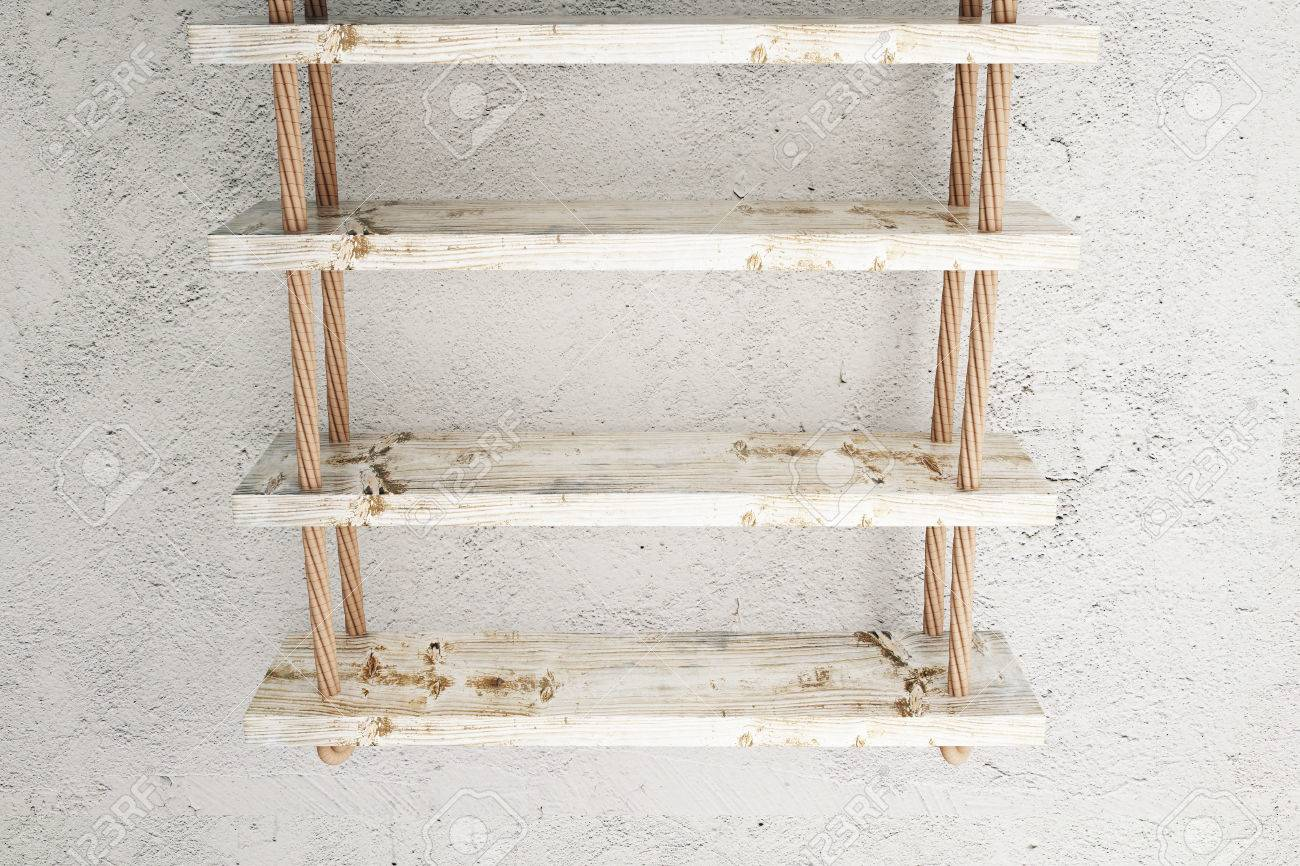 Suspended Wooden Shelves On Old Concrete Wall Mock Up, 3d Rendering