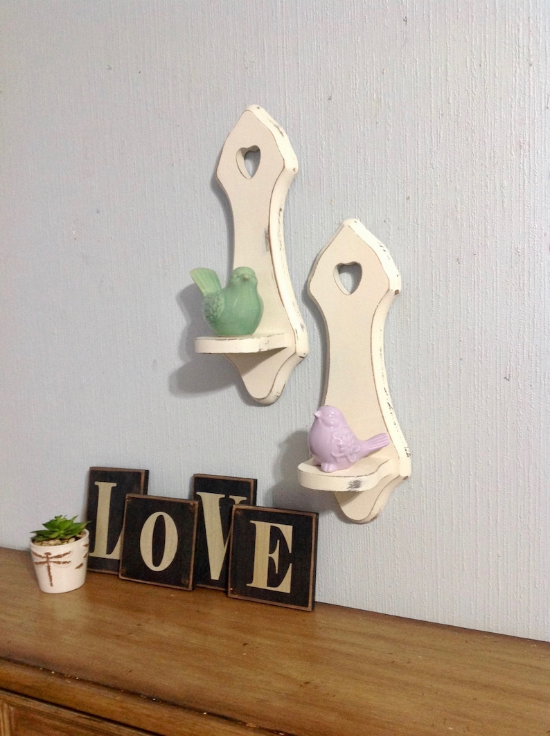 Vintage Accent Wall Shelves W/cut Out Heart- Wooden Set Of 2 Wall Shelves-  White Wall Decor- Farmhouse Shabby Cottage Chic- Home And Living
