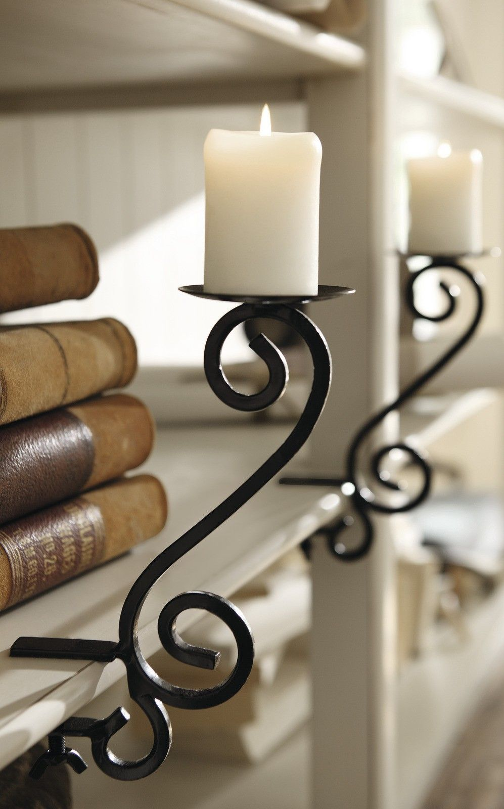 Candle Holders That Attach To Shelves - Great Idea