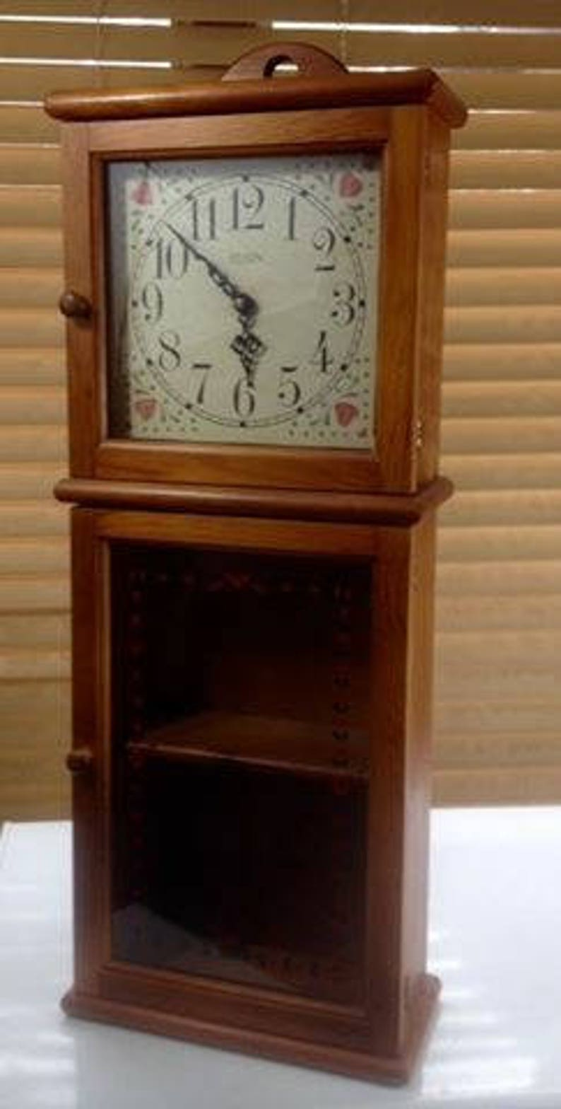 Elgin Clock Tall Wooden With Shelves Farmhouse Decor Glass Doors Stand  Alone Or Wall Hang
