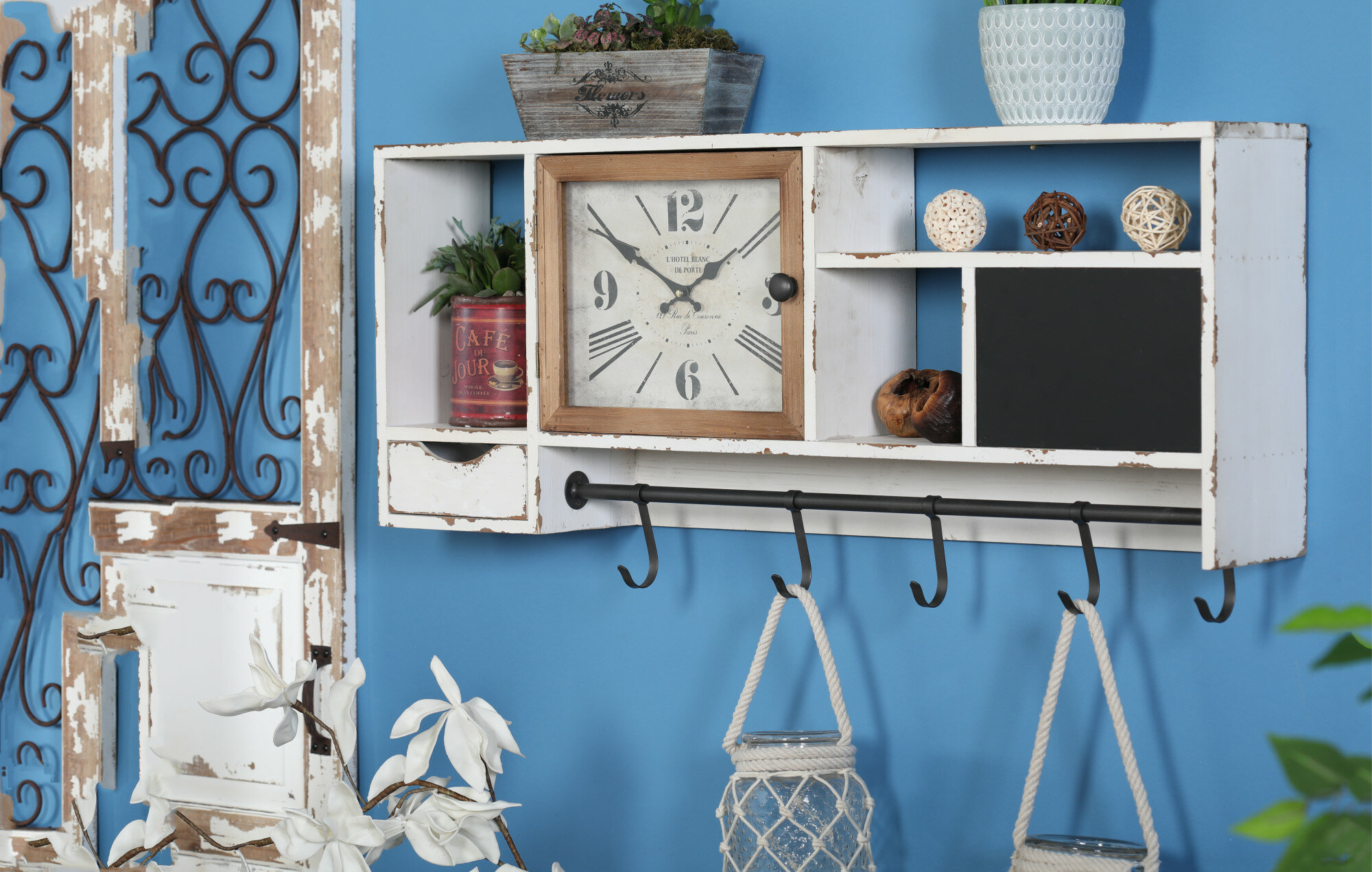 Giustino Rustic Wall Clock With Multi-purpose Shelves And Hooks