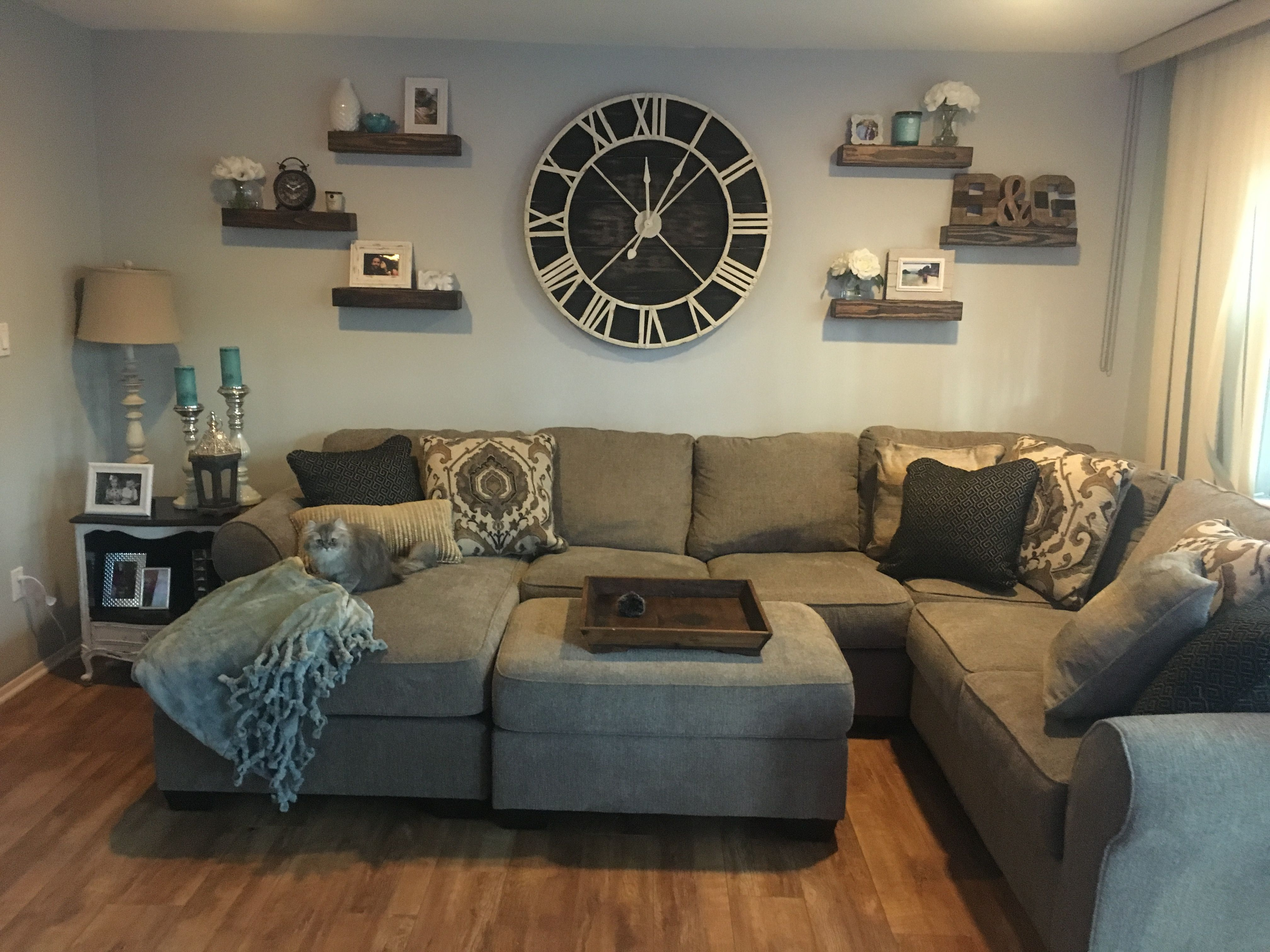 Oversized Wall Clock With Floating Shelves | Indiana Home In