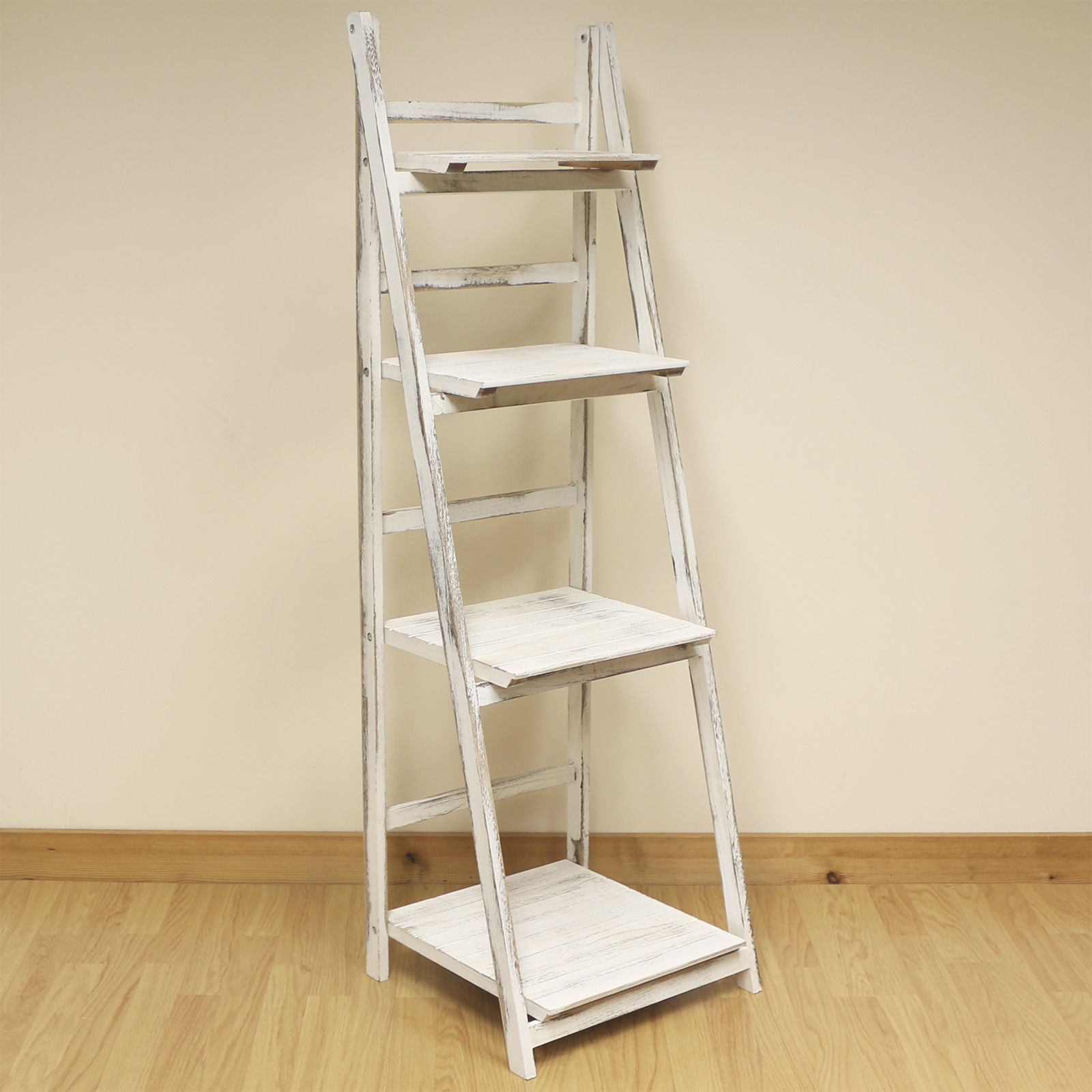 Details About 4 Tier White Wash Ladder Shelf Display Unit Free  Standing/folding Book Shelves