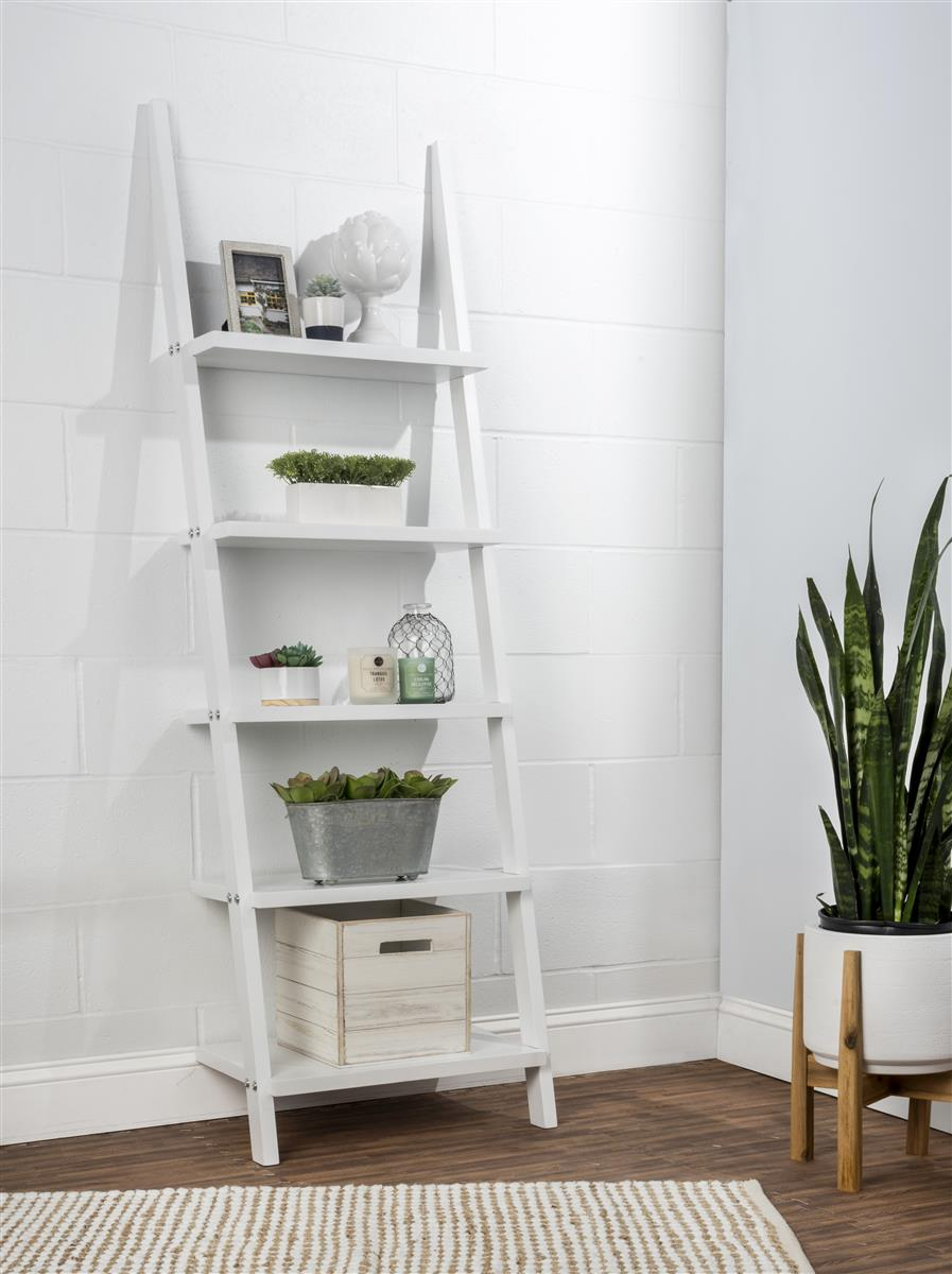 Wooden Leaning Ladder Rack With 5 Shelves – White