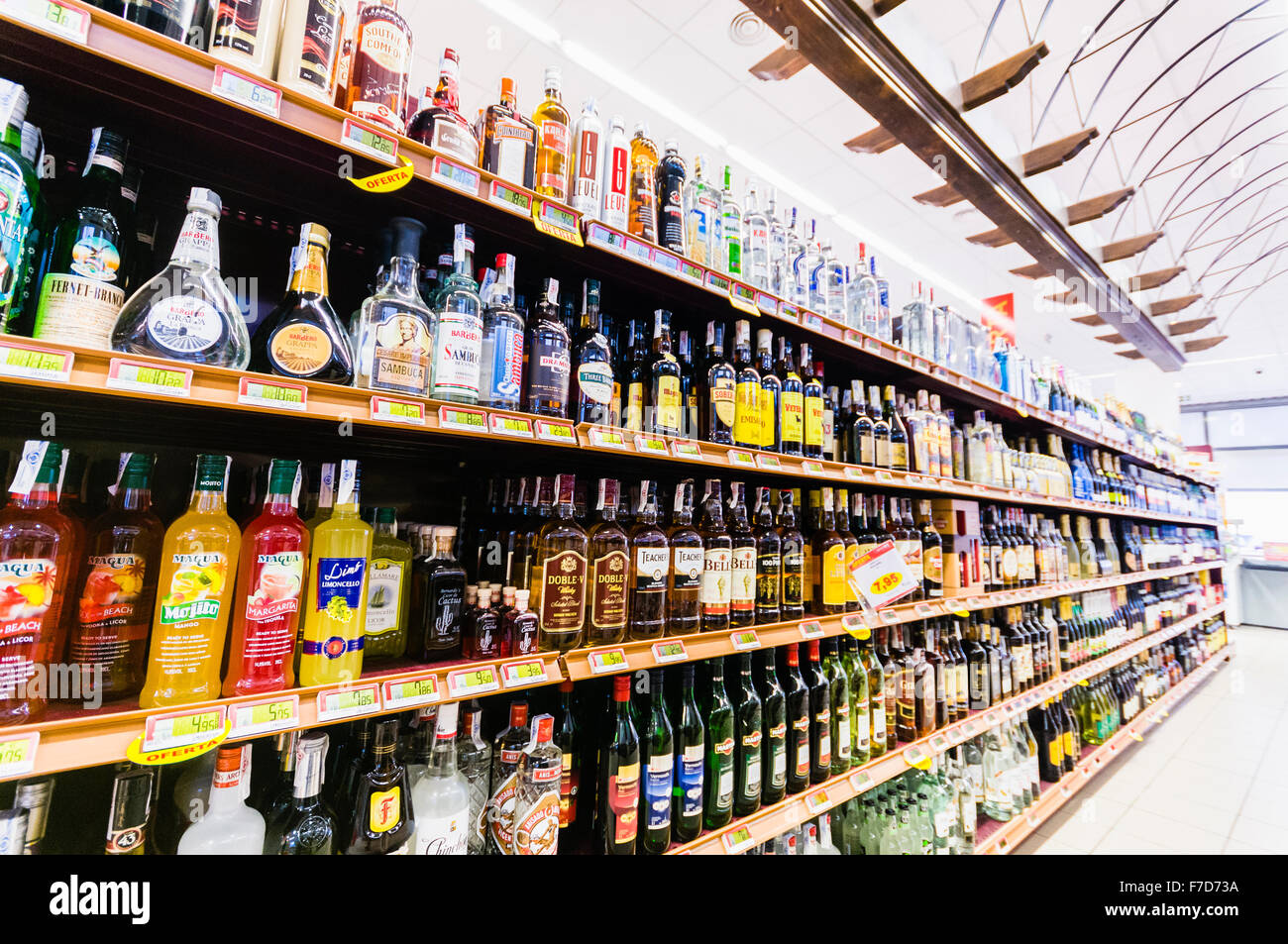 Shelves With Bottles Of Alcohol In A Spanish Supermarket In