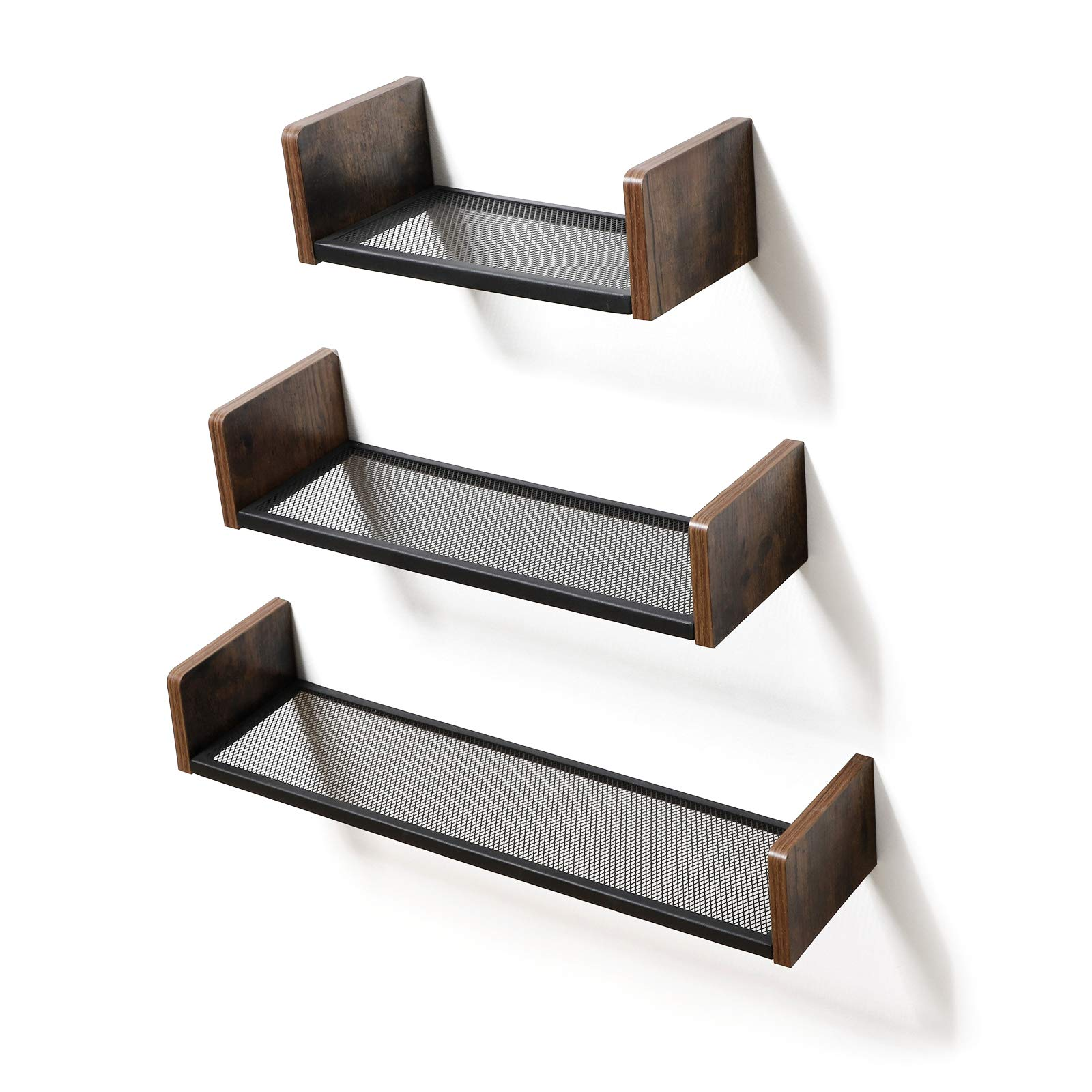 Vasagle Industrial Floating Shelves, Large Size Set Of 3 U-shaped Wall  Shelves For Photos, Decorations, In Living Room, Office, Hallway, Kitchen,