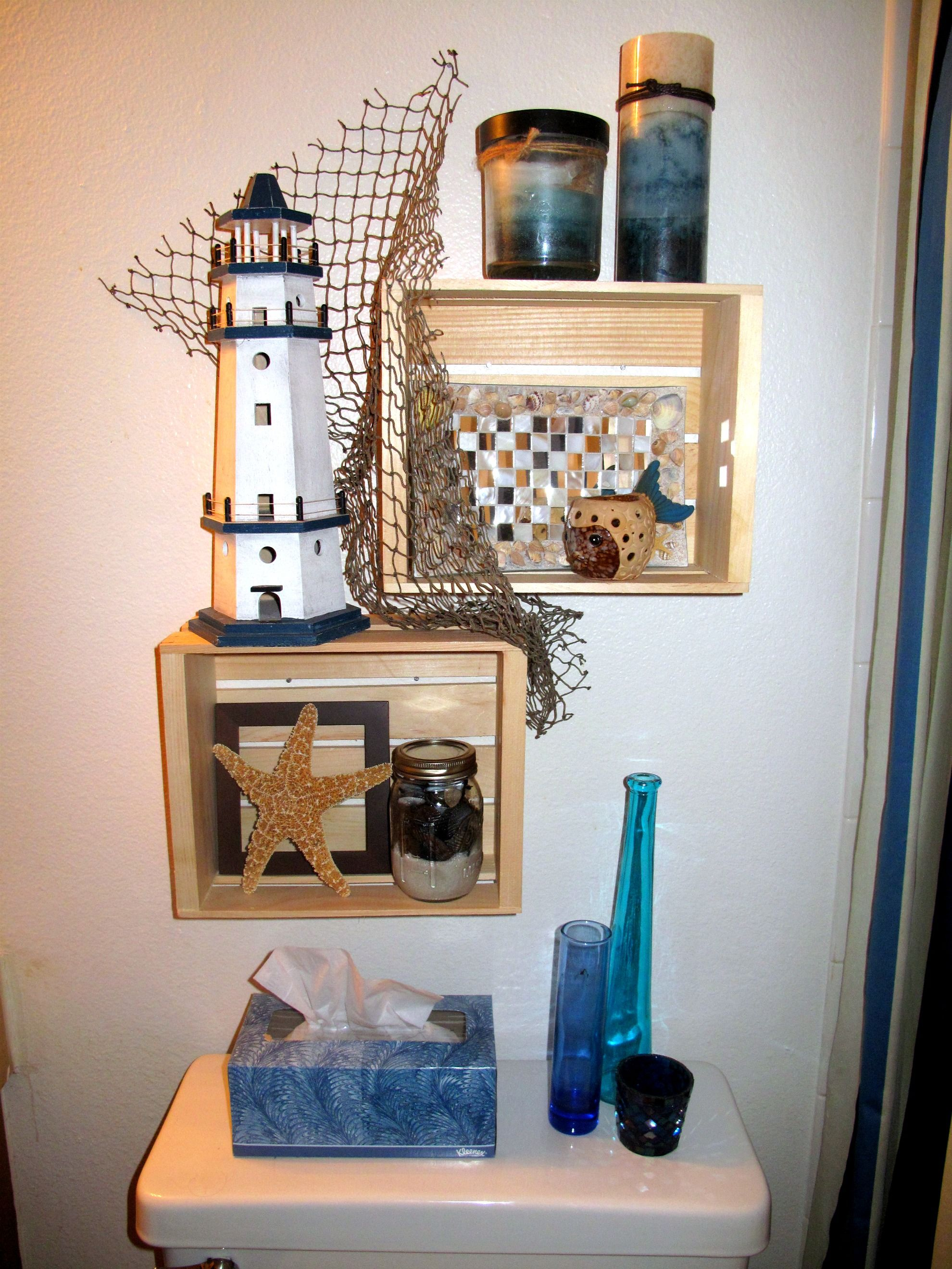 Beach Themed Shelves I Just Finished In My Bathroom