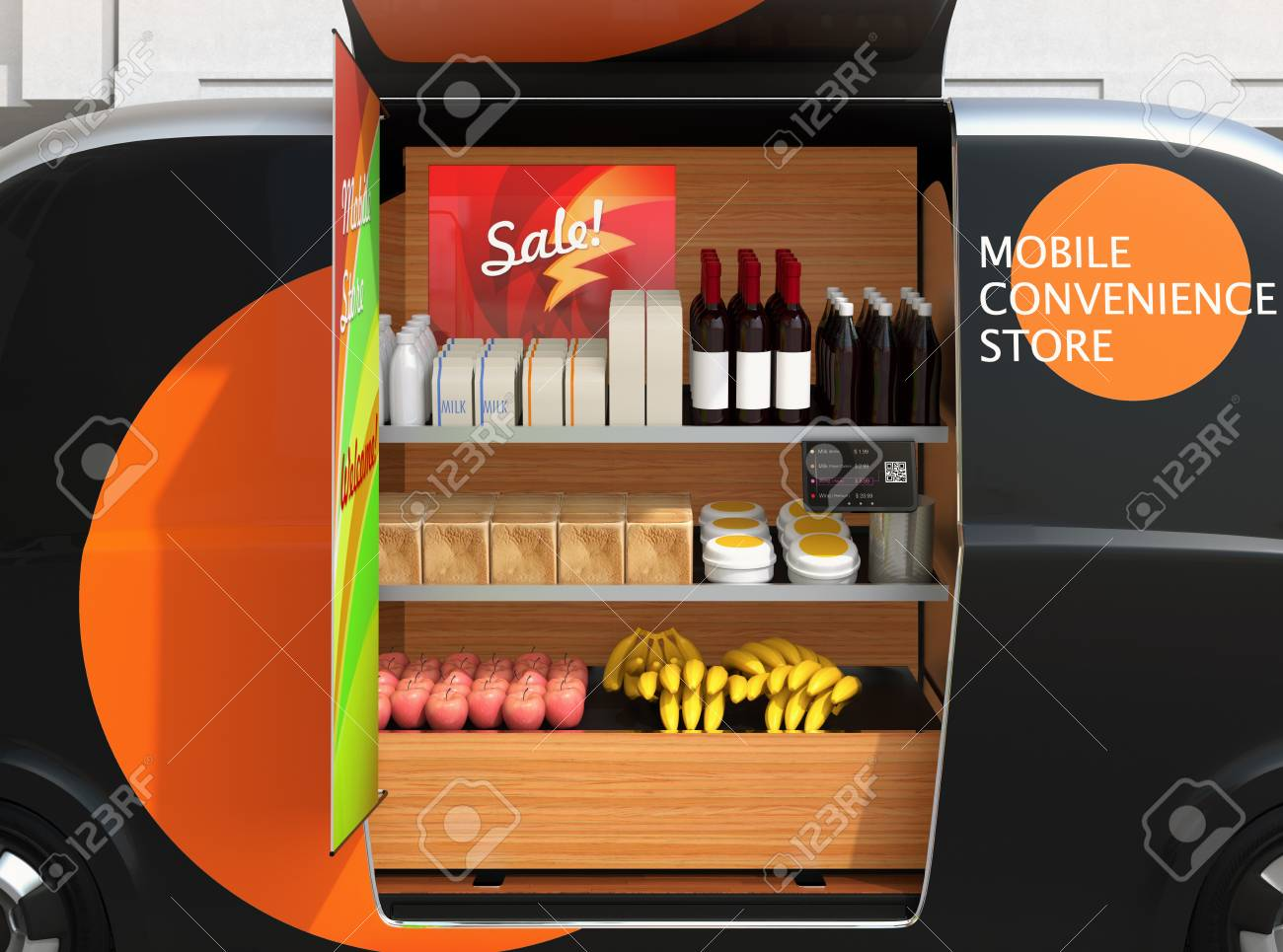 Close-up View Of Vending Car's Shelves Promotion Screen, Foods,