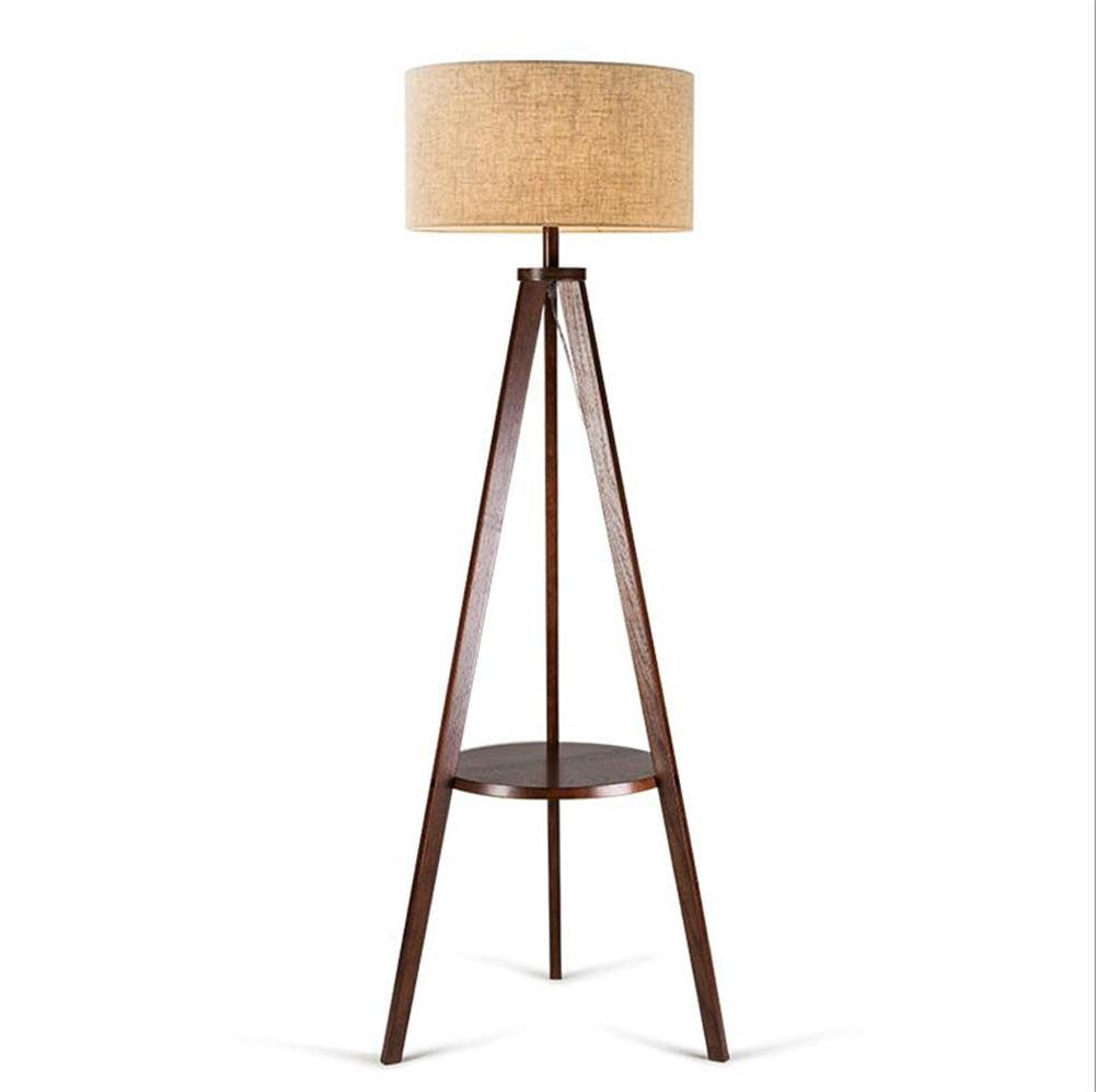 Atcoe Wooden Tripod Floor Lamp With Large Size Panel Shelves