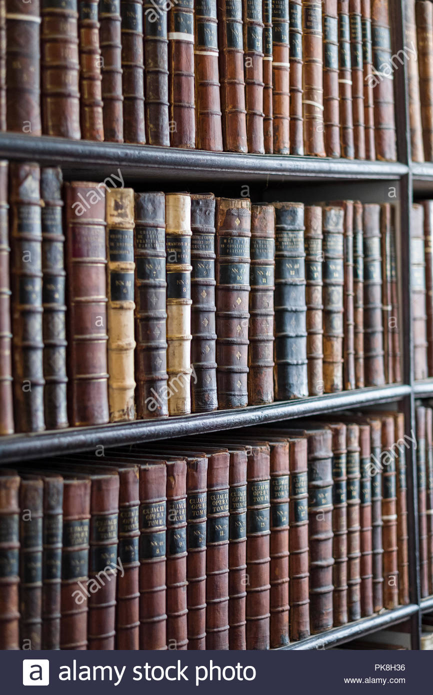 Close-up Of Books On Shelves Inside The Long Room In The Old