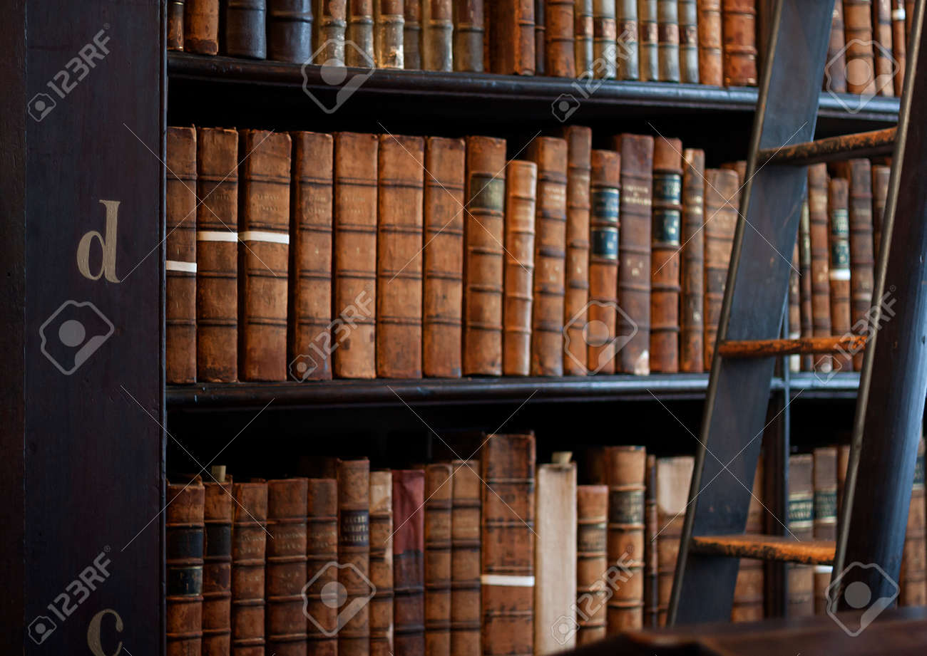 Book Shelves With Historic Books At Trinity College Library