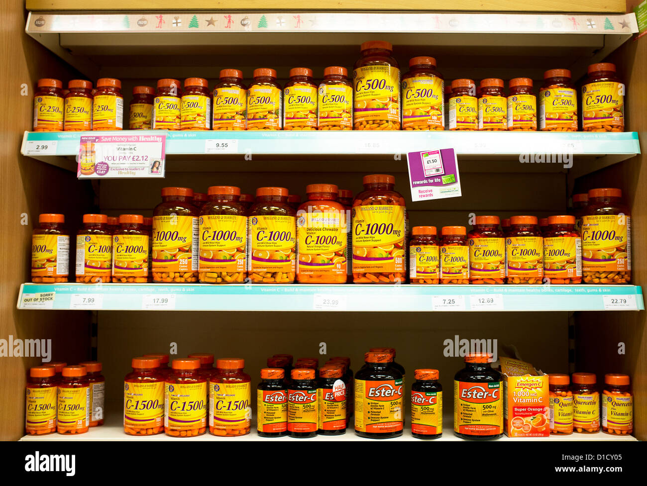 Shelves Full Of Containers Vitamin C Tablets Stock Photo