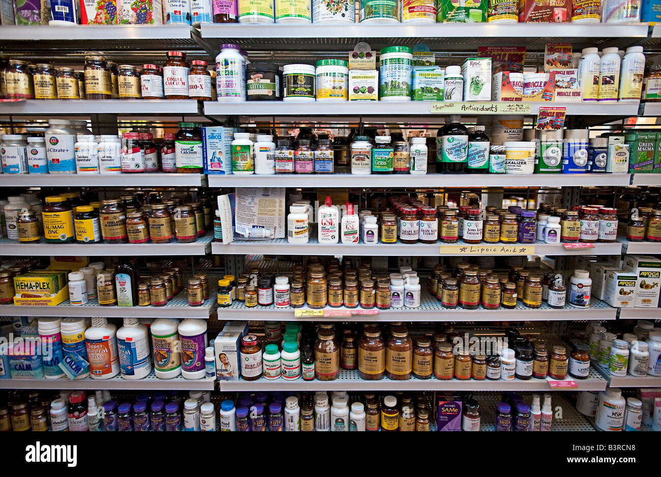 Vitamin And Herbal Supplement Display Shelves In A Health