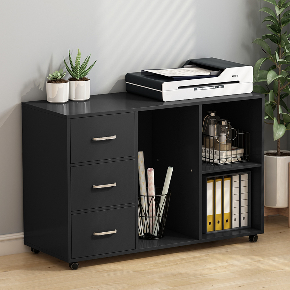 Tribesigns 3 Drawer Wood File Cabinets, Large Modern Lateral Mobile Filing  Cabinets Printer Stand With Wheels, Open Storage Shelves For Home Office