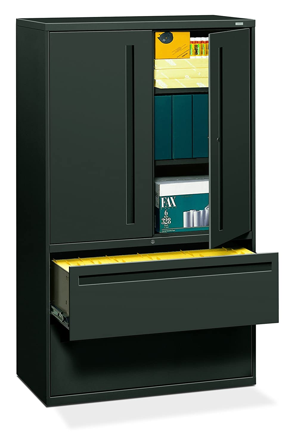 """Hon 2-drawer With 3 Shelves Office Filing Cabinet - Brigade 700 Series  Lateral File Cabinet, 1925""""d, Black (h795)"""