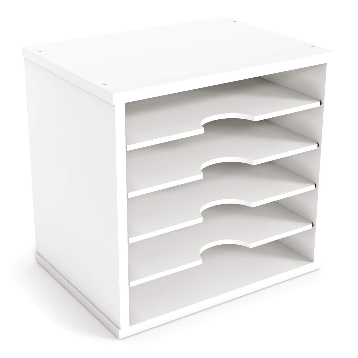 "Ballucci File Organizer Paper Sorter, 5 Tier Adjustable Shelves Office Desk  Organizer, 12 1/2"" X 9 1/4"" X 12"", White"
