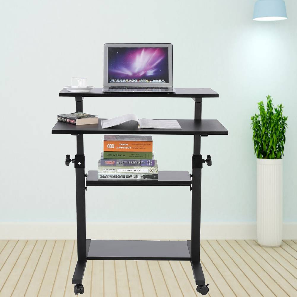 Details About Black Portable Trolley Laptop Table Computer Desk Tray  Shelves Height Adjustable