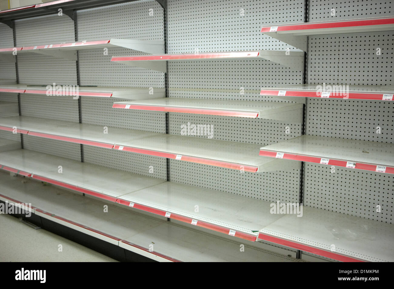 Empty Shelves In A Supermarket As A Result Of Liquidation
