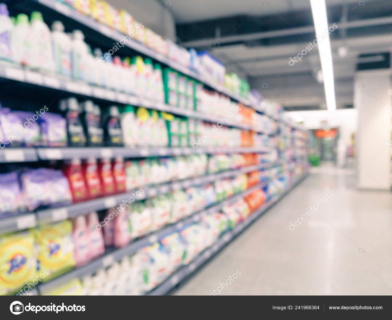 Blurred Colorful Supermarket Products Shelves Background