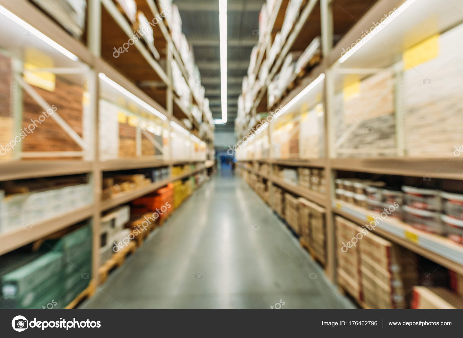 Blurred View Shelves Boxes Storage — Stock Photo