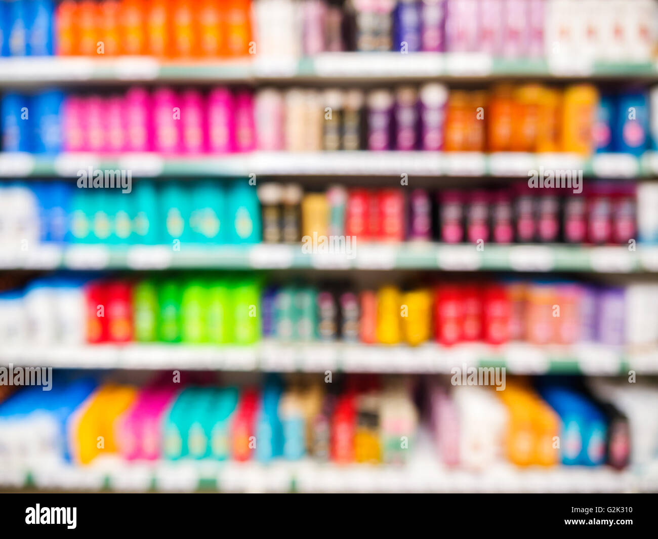Blurred Colorful Supermarket Products On Shelves - Shampoo