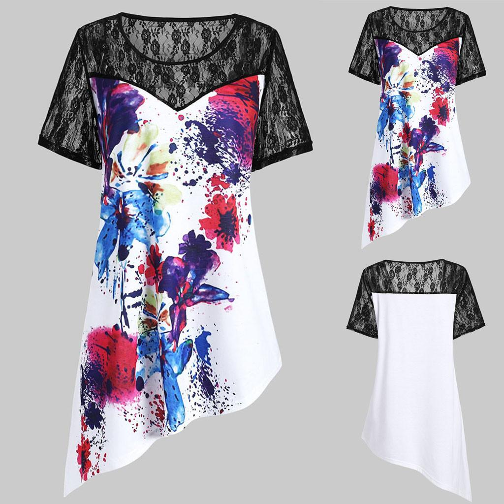 2019 Woman Clothes New Shelves Womens Short Sleeve Lace Panel Tie Dye  Asymmetrical Clothes Casual Top Blouse Haut Femme From Amandal, $4295  