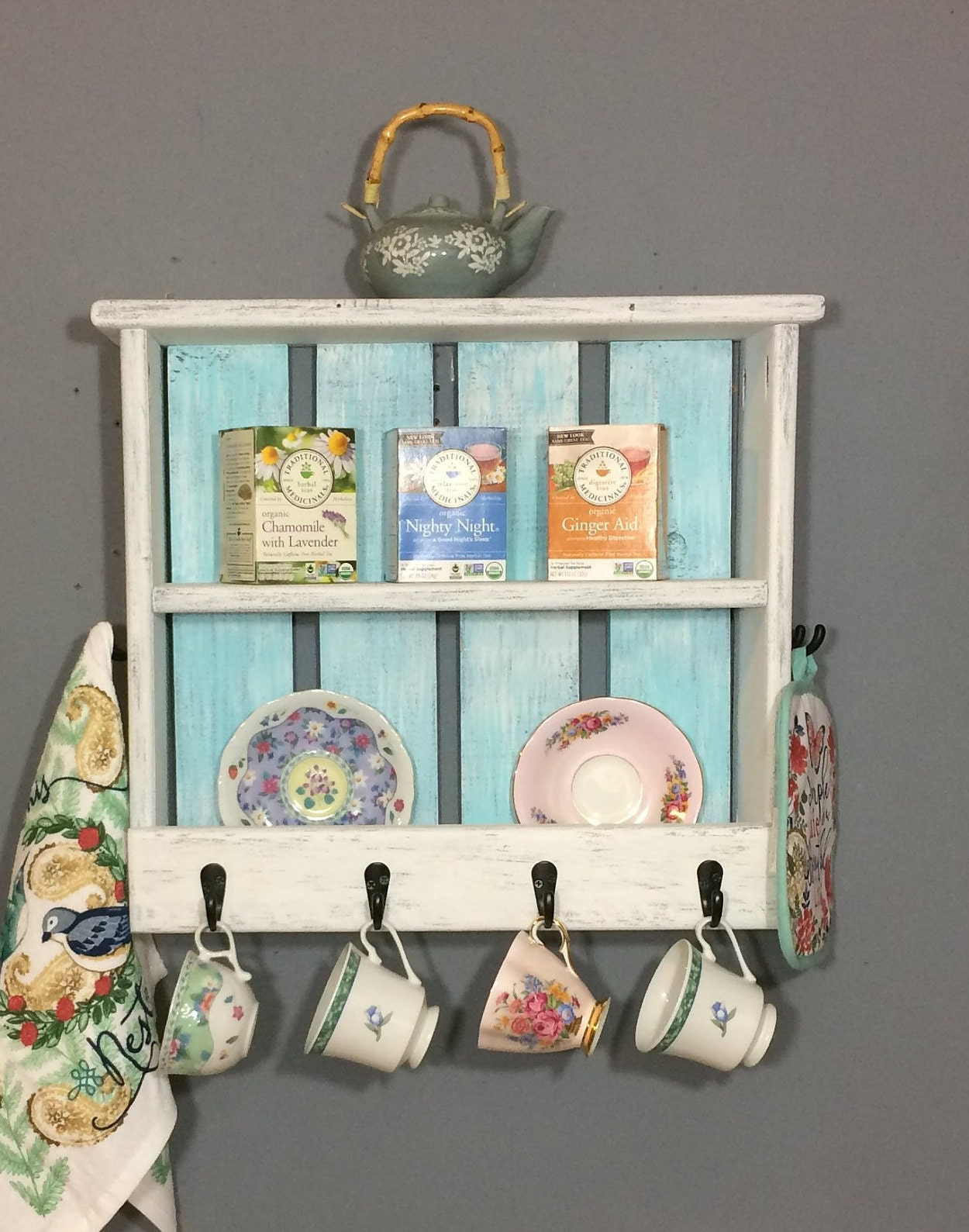 Kitchen Shelf For Hanging Tea Cups And Towels, Wall Coffee Station,  Bathroom Shelves For Towels, Accent Wall Shelf, Rustic White Farmhouse