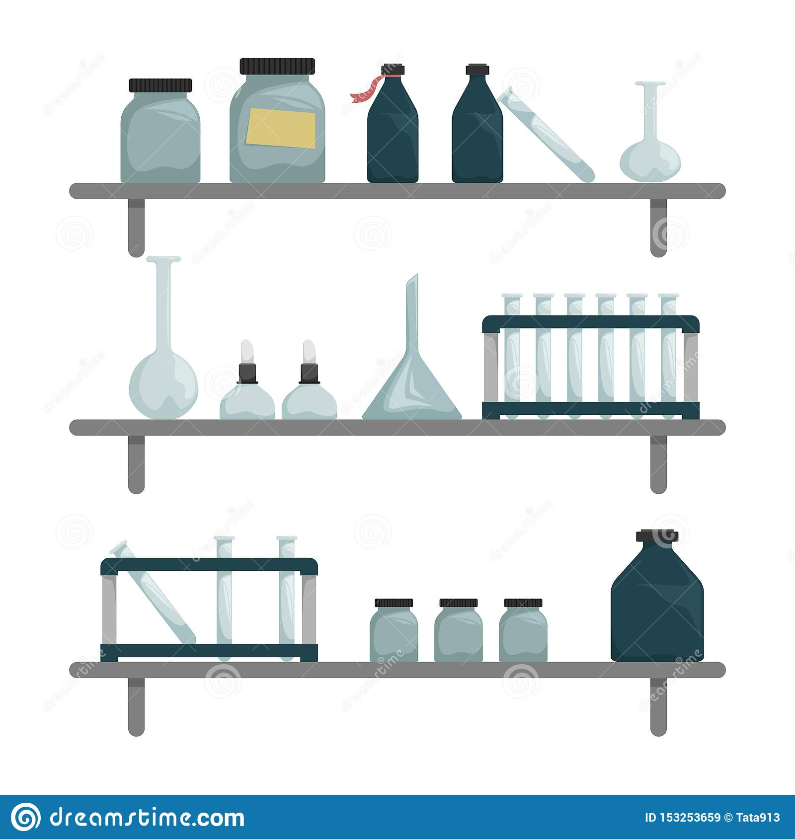 Scientific Chemical Laboratory Wall Shelves With Scientific