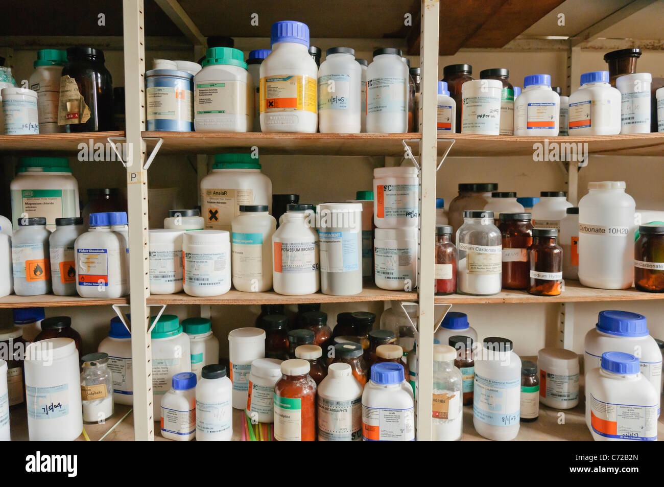 Chemicals On The Shelves Of A School Chemistry Laboratory