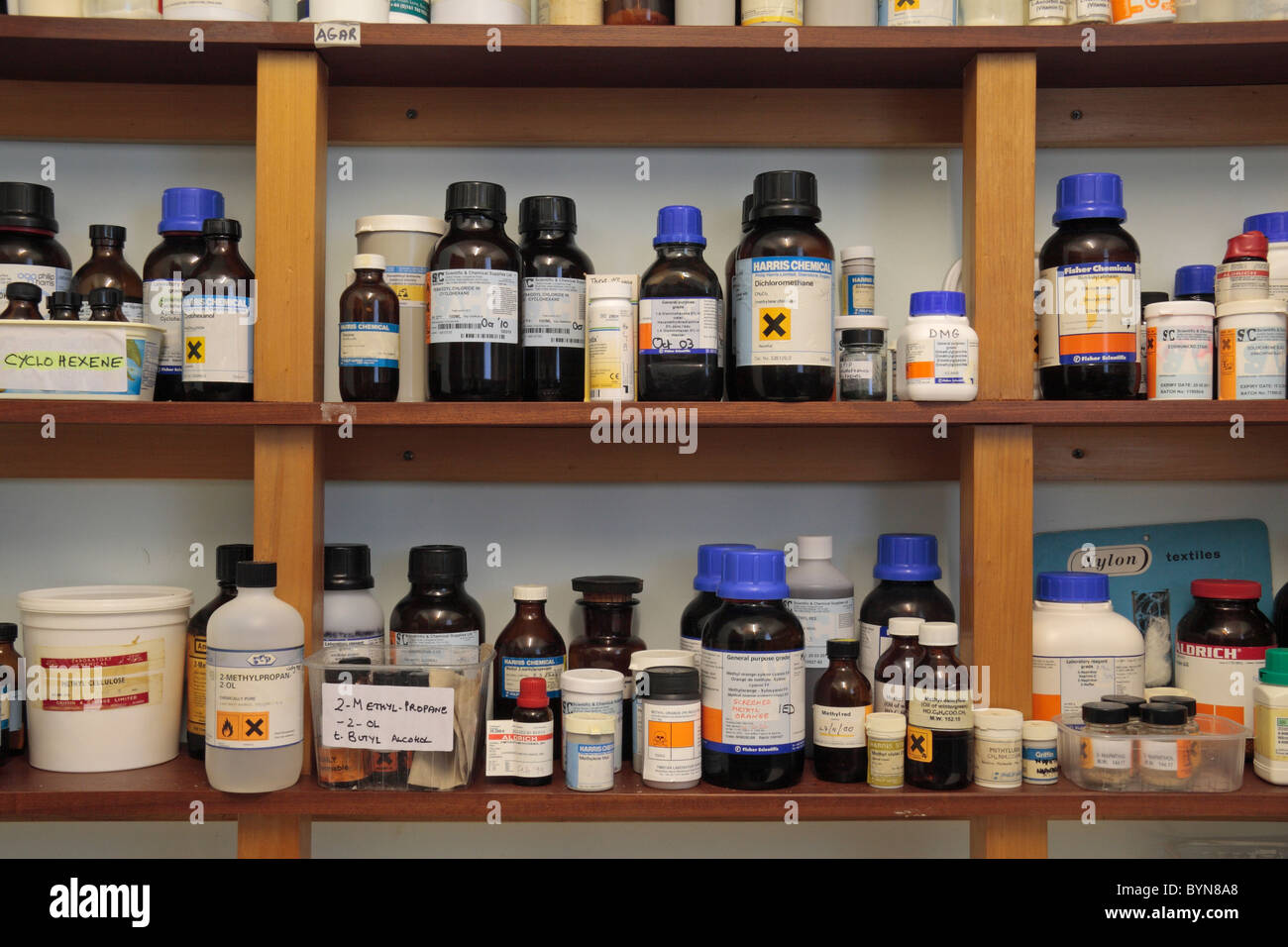 Shelves Of Assorted Chemicals In A School Chemical Storage