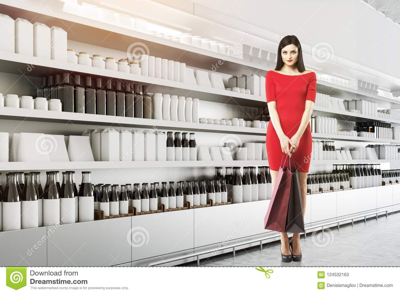 Supermarket Shelves With Mock Up Goods, Woman Stock