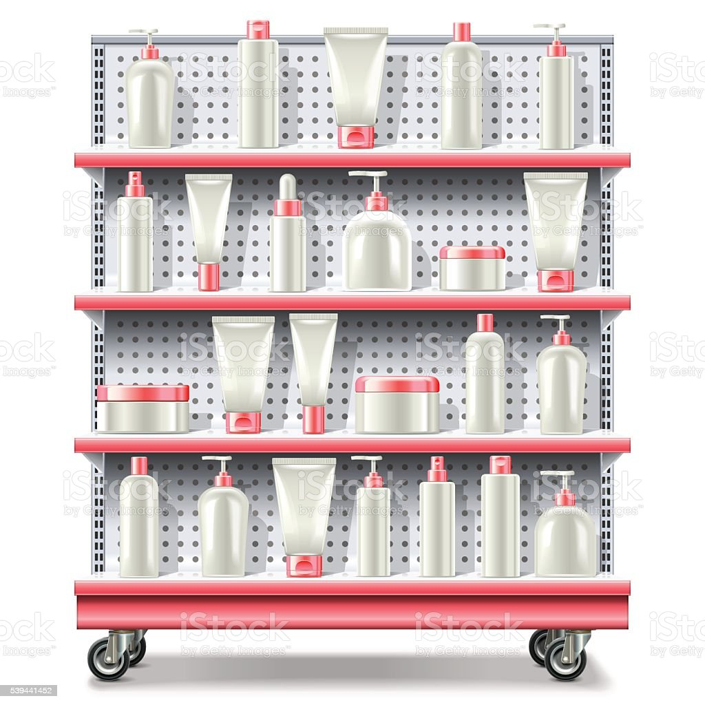 Vector Supermarket Shelves With Cosmetics Stock Illustration