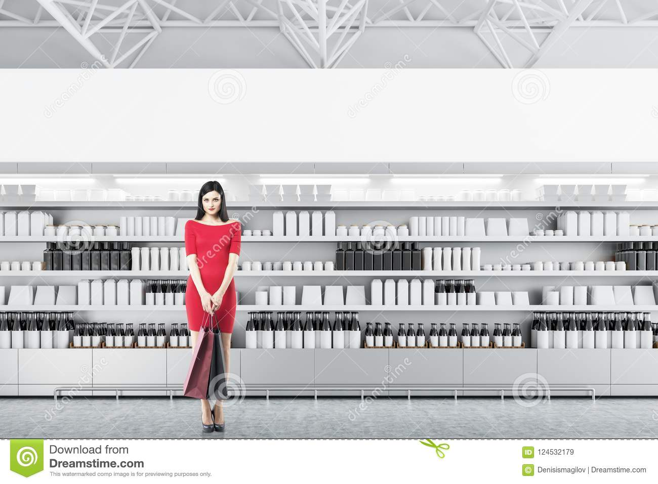 Supermarket Shelves With Mock Up Boxes, Woman Stock