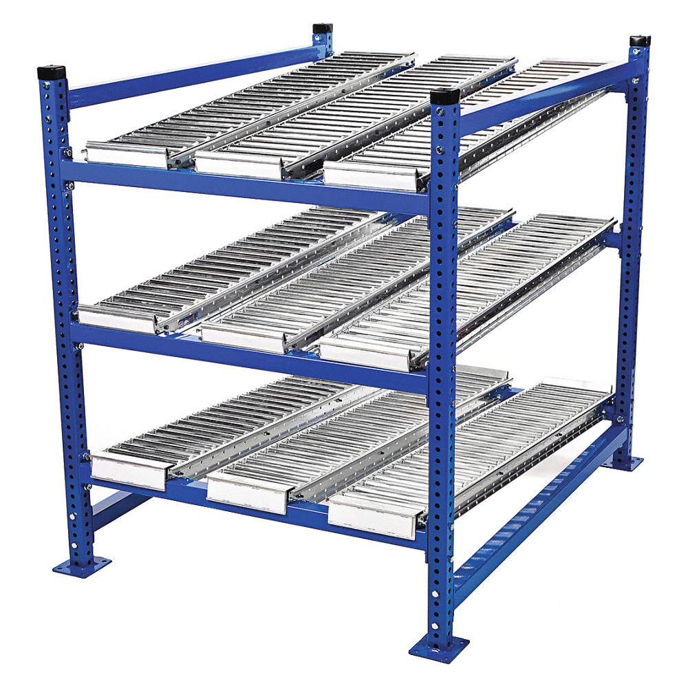 """Add-on Gravity Flow Rack With Steel Roller Lanes Decking And 4 Shelves,  72""""w X 72""""d X 72""""h"""