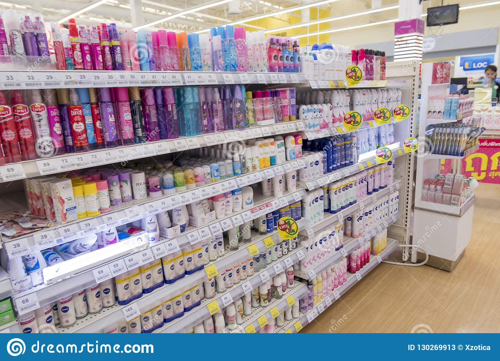 Many Kinds Of Deodorants On Shelves In Tesco Lotus Express