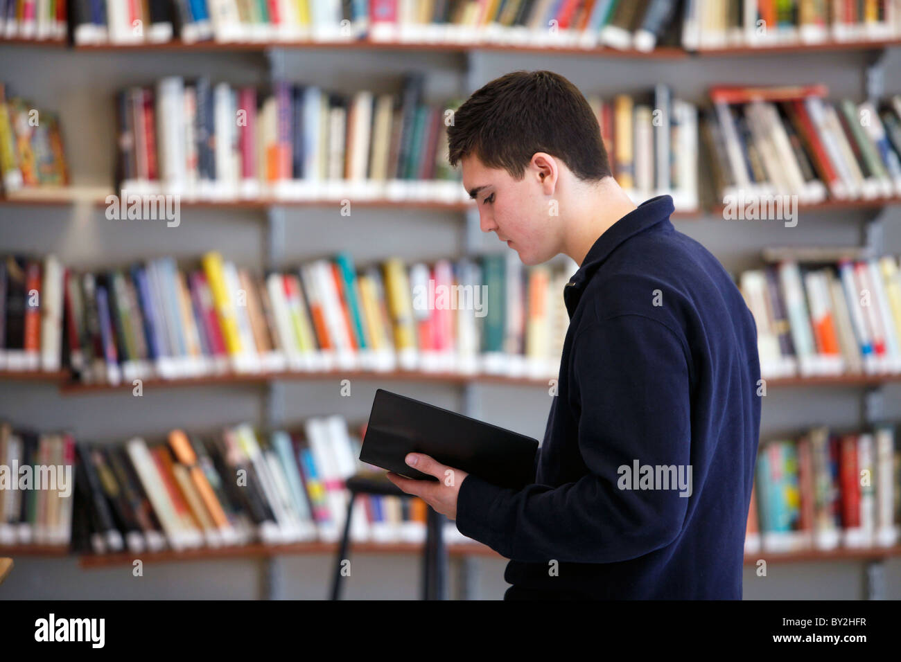 American High School Student Reading In Front Of Bookshelves